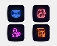 算法、网上录影和人想法象 手工doc标志 项目,录影检查,灯能量 项目信息 向量 库存例证