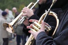 管乐器演奏员 图库摄影