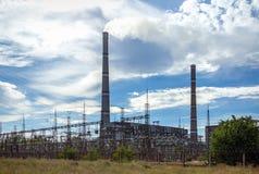 管子热电站污染烟 图库摄影