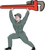 水管工举的活动扳手动画片 库存照片