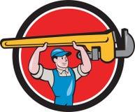 水管工举的活动扳手圈子动画片 免版税库存照片