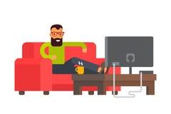 管理员重点家人坐的沙发电视注意 向量例证