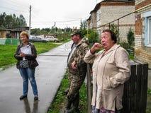 管理的成员会议与公寓的居民的在俄罗斯的斯摩棱斯克地区 免版税图库摄影
