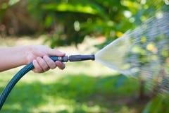 从水管的运作的浇灌的庭院 免版税库存图片