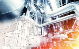 管道系统设计剪影与工业设备照片结合了 图库摄影