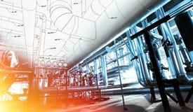 管道系统设计剪影与工业设备照片结合了 免版税图库摄影