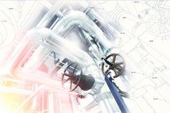 管道系统设计剪影与工业设备照片结合了 免版税库存照片