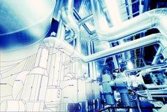 管道系统设计剪影混合了对工业设备照片 库存图片