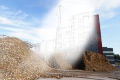 管道系统设计剪影混合了对生物燃料能源厂照片 库存照片