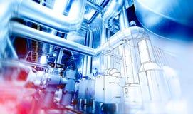 管道系统设计剪影结合了对工业设备照片 库存图片