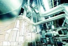 管道系统设计工业设备剪影  图库摄影