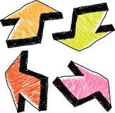 箭头五颜六色的被画的现有量 免版税库存图片