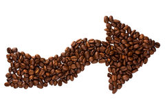 箭头做的豆coffe 库存照片