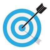 箭头击中目标 在白色背景的目标象 平面 皇族释放例证