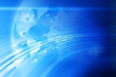 箭头国际商业地球背景 库存照片