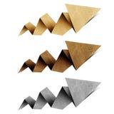 箭头工艺origami纸张被回收的标签 免版税库存照片