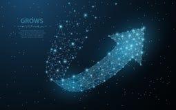 箭头成长 多角形滤网艺术看起来象星座 概念例证或背景 免版税库存图片