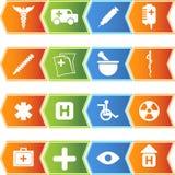箭头按钮图标医疗系列集 向量例证