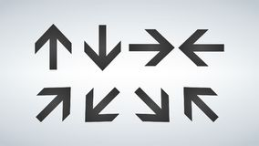 箭头汇集套不同的方向箭头象,在现代背景隔绝的传染媒介例证 库存图片