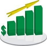 箭头绿色柱基销售额 免版税库存照片