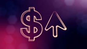 箭头美元的符号和象征  光亮微粒财务背景  3D与景深的圈动画, bokeh 库存例证