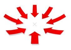 箭头范围红色 免版税库存照片