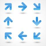 箭头蓝色按钮玻璃状图标向量万维网 免版税库存照片