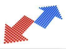 箭头蓝色红色 免版税图库摄影