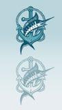 箭鱼和船锚标志 免版税库存照片