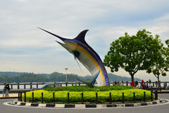 箭鱼雕象在亚庇,马来西亚 库存图片