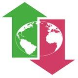 箭头下来接地全球  免版税库存图片
