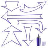 箭头绘了您的设计的标志 库存图片