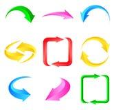 箭头五颜六色的集 免版税库存照片