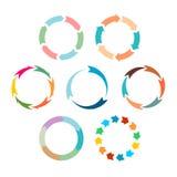 箭头刷新被设置的标志 平的颜色 免版税库存照片
