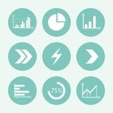 箭头和图表蓝色象集合,平的设计 也corel凹道例证向量 免版税库存图片