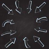 箭头构筑拉长在黑板 向量 图库摄影