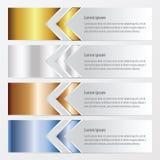 箭头横幅设计金子,古铜,银,蓝色颜色 免版税库存图片