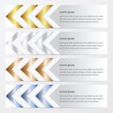 箭头横幅设计金子,古铜,银,蓝色颜色 库存例证