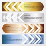 箭头横幅设计金子,古铜,银,蓝色颜色 向量例证