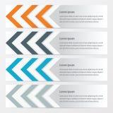 箭头橙色横幅的设计,蓝色,灰色颜色 皇族释放例证