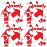 箭头白色&难看的东西在红色无缝的样式 免版税库存照片