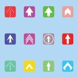 箭头绿色图标红色系列集 免版税图库摄影