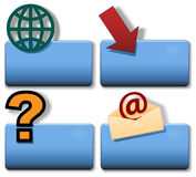 箭头蓝色e地球图标问题集合符号称谓 免版税图库摄影