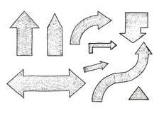 箭头被设置剪影 也corel凹道例证向量 免版税库存照片