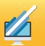 箭头象和计算机黄色背景,起始的企业概念例证 库存例证
