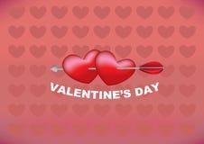 箭头通过两心脏在情人节设计 免版税图库摄影
