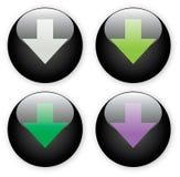 箭头黑色按钮下载图标 免版税库存图片