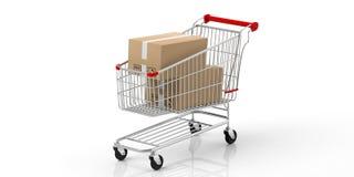 箱子在白色背景隔绝的购物车关闭了 3d例证 皇族释放例证