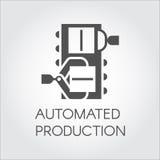 箱子夹子黑象由机械手的 自动化的生产概念 工厂和植物的现代设备 向量例证