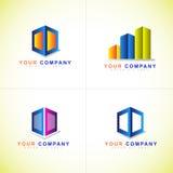 箱子或立方体商标集合 免版税库存图片